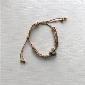 Juicy Couture Pave Heart Drawstring Bracelet